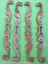 4 entrées serrure fonte copie style Louis XV portes armoire bahut hauteur 18 cm