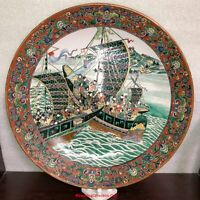 Magnificent Japanese 19th Edo Imari Kutani Porcelain Charger Lucky Ships Sailing