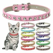 Rhinestone Rivets Cat Collar Leather Small Dog Collars Puppy Strap Accessories