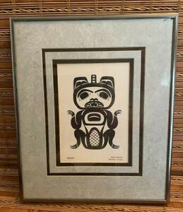 Vintage Alaska Tlingit Print BEAVER  Ernie Smeltzer Matted & Metal Framed 13x 11