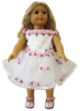 """EASTER Dress White with Pink Roses fits 18"""" American Girl Doll Clothes"""