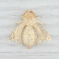 Bumble Bee Brooch 14k Yellow Gold Synthetic Ruby Insect Pin