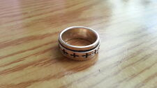 Beautiful Heavy Spinner Cross Band Ring Real 925 Sterling Silver*Side7.75*91S
