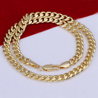 Chain Gold Rope Yellow Necklace Diamond Cut Pendant 1mm 14K Gold Plated ITALY