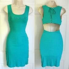 BEBE TEAL LOGO LACE UP BACK SNAP BUTTON DRESS NEW LARGE L