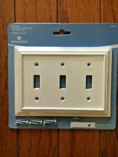 NEW BRAINERD ARCHITECTURAL WHITE WOOD TRIPLE TOGGLE SWITCH PLATE FREE SHIPPING