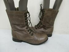 Steve Madden Troopa Stone Leather Zip Lace Combat Fashion Boots Womens Size 7 M