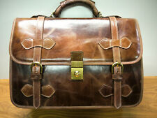 Italian Leather Briefcase F. P.Top Quality Leather and Product UNIQUE Cognac