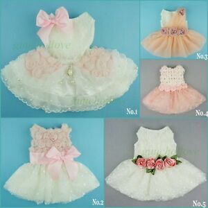 Fitwarm Wedding Dress Pet Clothes Pink Rose White Lace Dog Apparel Bridal Dress