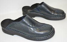 Clarks Shoes Blue Leather Clogs Mules Slip On 79962 Women's 5M