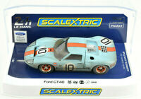 "Scalextric Weathered ""Gulf"" Ford GT40 #10 DPR W Lights 1/32 Scale Slot Car C4105"