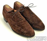 SALVATORE FERRAGAMO Solid Brown Suede Leather Wingtip Oxford Dress Shoes - 9 D