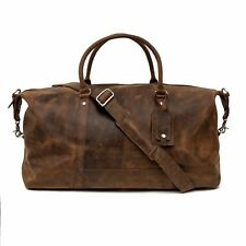 Porterbello Brown Leather Holdall Duffle Weekend Bag
