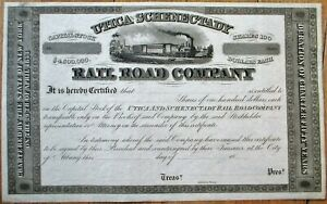 Utica & Schenectady Rail Road 1850s Stock Certificate - NY Rail Road/New York RR