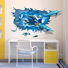 3D Ocean Dolphin Removable Vinyl Decal Wall Sticker Art Mural Home Room Decor US
