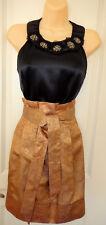 BCBG MaxAzria Black Silk Top/ Gold Textured Skirt Sz-XS-6 ~ STYLISH & FESTIVE~~
