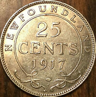 1917 NEWFOUNDLAND SILVER 25 CENTS TWENTY FIVE CENTS COIN