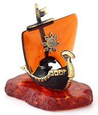 "Sailing Ship Brass Figurine Baltic Amber Base Viking Dragon Nautical Boat 1.9"""