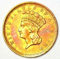 1856 Indian Gold Dollar Coin (G$1) - Choice AU / UNC MS Details  - Rare Coin!