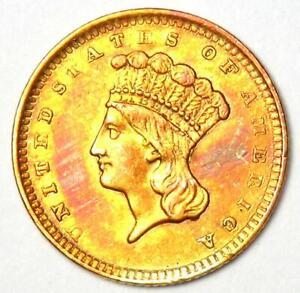1856 Indian Gold Dollar Coin (G$1) - Choice AU / UNC MS Details  - Rare Coin!