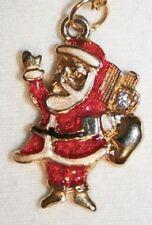 Delightful Red Enameled Goldtone Santa Claus Necklace  ++++
