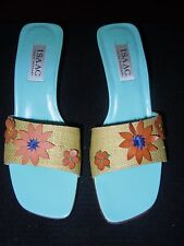 NEW ISAAC MIZRAHI ITALY  LEATHER/WICKER OPEN TOE HEELS SHOES/SANDALS 8M