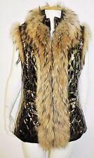 Nwt $3,276 Roberto Cavalli Fur patent Leather Leopard Vest Jacket 40  us 4