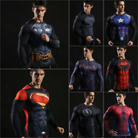 Mens T-Shirt Compression Tops Hero 3D Printed Long Sleeve Muscle Fitness Shirt