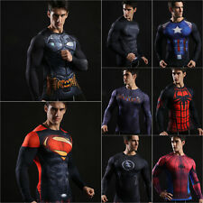 3D Marvel Comic Superhero Compression Men's T-shirt Long Sleeve Sports Tight Top