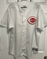 CINCINNATI REDS Men Sewn Logo White Button Front Baseball Jersey XL Majestic