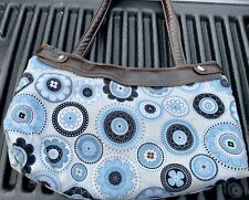 SALE! Blue Beige & Black THIRTY-ONE Shoulder HANDBAG Satchel Fabric w/ Big Bow