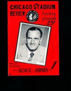 EX PLUS 10/12/1958 Black Hawks vs Leafs NHL Program HOFer Tommy Ivan on Cover