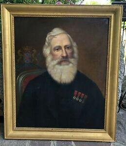Antico quadro con cornice dorata -Olio su tela -Ritratto uomo -