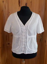 PER UNA off-white cream beige floral embroidered short sleeve blouse top 18 46