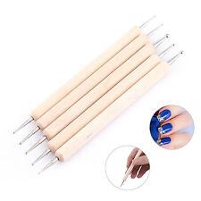 2Way Wooden Dotting Manicure Tools Painting Dotting Dot Pen Nail Art  5PCS