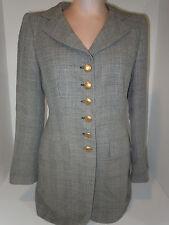 RENA LANGE Womens Sz 6-8 Medium Black & White Wool Blend Designer Blazer Jacket