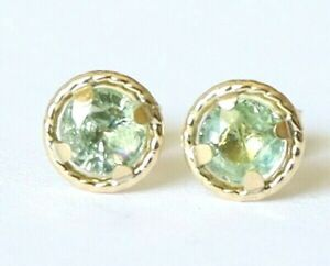 Genuine 9ct 9k 375 Yellow Gold NATURAL & RARE Green Sapphire Stud Earrings 5mm