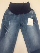 Angel Kiss Maternity Jeans Denim Size X (Extra Large) Distressed Cropped NEW
