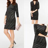 Womens DOROTHY PERKINS Black Velvet Glitter Shift Dress Size 16 Party Dinner New