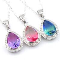 Teardrop Jewelry Gift Bi Color Tourmaline Gemstone Silver Drop Necklace Pendants