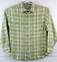 Tommy Bahama Silk Mens Shirt Size L Green Yellow Plaid Long Sleeve Button Up