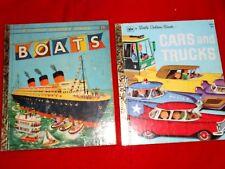 Lot 2 Little Golden BOATS (1951) + CARS & TRUCKS (1976) Richard Scarry Transport