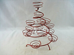 UNIQUE Swirl Tiered Cupcake Stand Metal Holder Tower -13 Cupcakes - Red