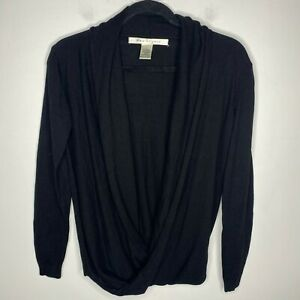 Max Studio Size Small Wrap Front Sweater Twist Hem Black Long Sleeve Cotton