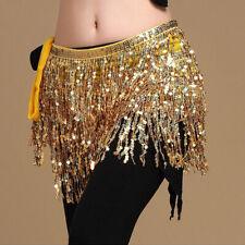 Belly Dancing Sequin Performance Belt Festival Hip Scarf Skirt Halloween Gold