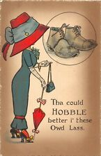 POSTCARD  COMIC  EDWARDIAN LADY - LARGE HAT - HOBBLE - BOOTS