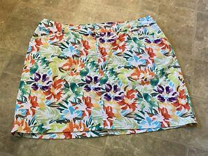 """CJ Banks White Floral Print Stretch Skort Skirt Size 24W, Skort Length 21""""  VGUC"""