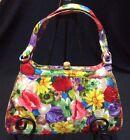Vintage Saks Fifth Avenue Bold Floral Handbag Purse Crown Rhinestone Latch 1940s