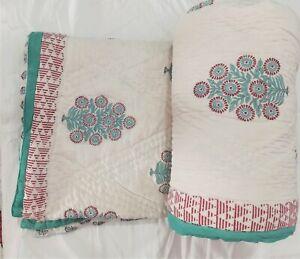 Elegant Tree Prints Lightweight Jaipuri Winter Coverlets Queen Size Floral Quilt