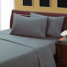 Queen Size Dark Gray Solid Sheet Set 1000 Thread Count 100% Egyptian Cotton